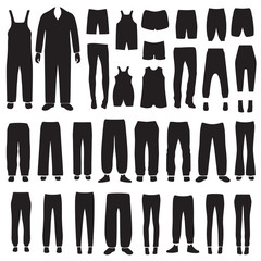 vector isolated pants silhouettes, clothes icons