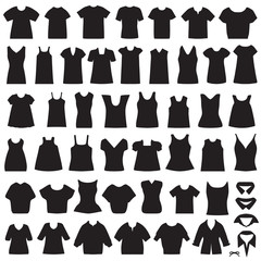vector clothing icons, isolated shirts and blouses silhouette
