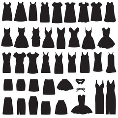 clothing icons, isolated dress and skirt  silhouette