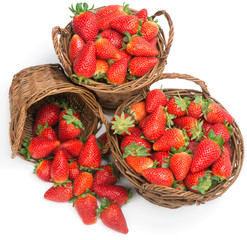 Baskets of fresh ripe strawberries