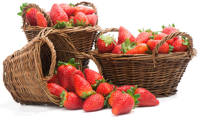 Red juicy strawberries in a baskets