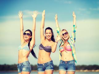 beautiful teenage girls or young women having fun