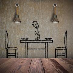 Innenraum mit Stuhl, Tisch und Lampen