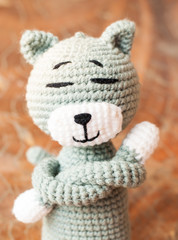 Knitted toy tabby cat isolated on white background