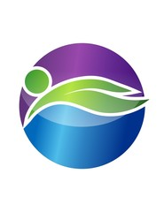 Global Nature Logo Wellness Health icon People Swiming