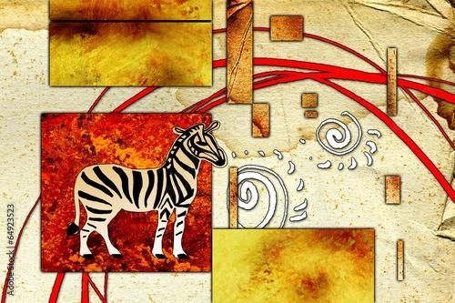 Canvas Afrikaanse Motieven african motive ethnic retro vintage
