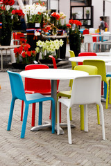 cafe with color chairs