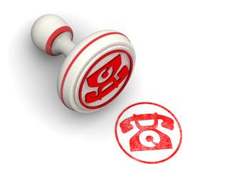 Печать с символом дискового телефона