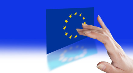 Direction fingers to the EU flag