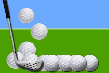 Golf, bolas, pelotas, palo, fondo