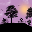 Beautiful landscape and cyclists silhouettes