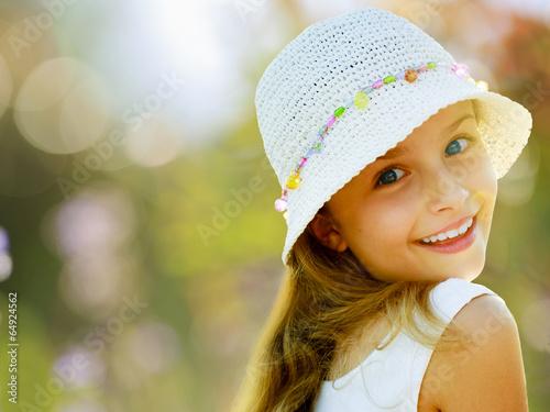 canvas print picture Summer, lovely girl enjoying summer vacations
