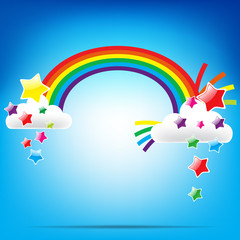 Rainbow and colorful star