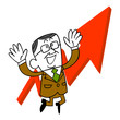上昇する矢印と年配のビジネスマン