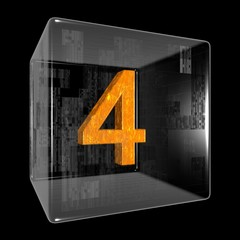 Orange four in a transparent design box