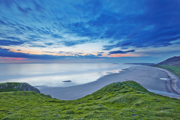 Rhossili bay at sunset