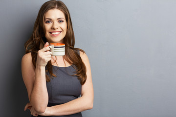 Business woman coffee cup