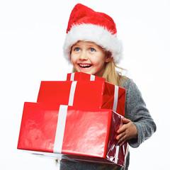 Little girl hold gift box. White background.