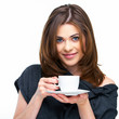 woman with coffee cup isolated