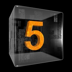 Orange five in a transparent design box