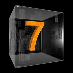 Orange seven in a transparent design box