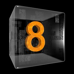 Orange eight in a transparent design box