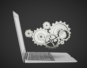 laptop with gears