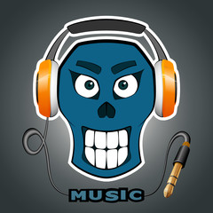 Smiling skull with music on in headsets, headphones