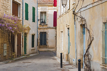 Early morning view at the street in old city of  Arles, France
