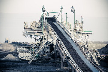 Opencast brown coal mine. Belt conveyor.