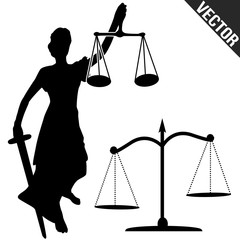 Justice statue and scale
