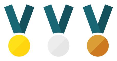 Flat medals set