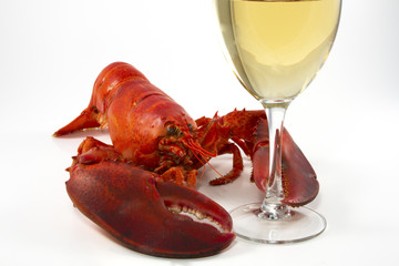 Whole Lobster and Wine Glass