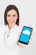 Businesswoman using cloud on smart phone