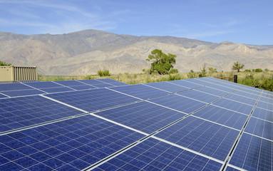 Solar Panels in sunny desert environment