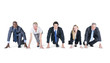 canvas print picture - Group of Business People on a Running Position