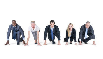 Group of Business People on a Running Position