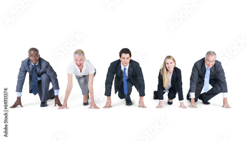 canvas print picture Group of Business People on a Running Position
