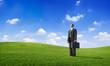 Businessman Standing on a Field