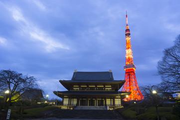 増上寺と東京タワーライトアップ