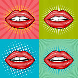 Sexy wet red lips with teeth pop art set backgrounds