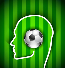 Human head with soccer ball - Football fan