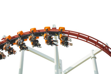 rollercoaster amusement park ride, isolated on white background