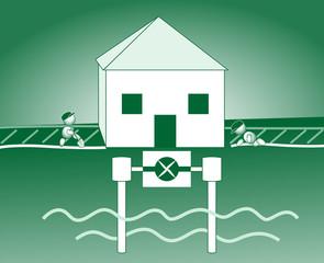 Energiesparhaus Grundwasserpumpe
