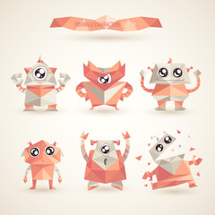 cute characters robot set by triangles, polygon illustration