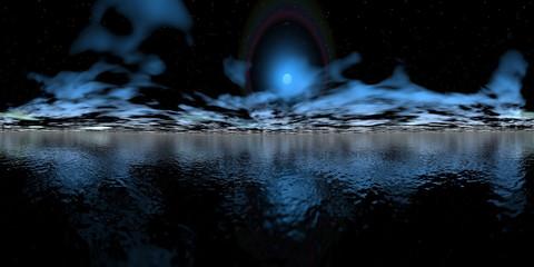 Night over ocean - 3D render