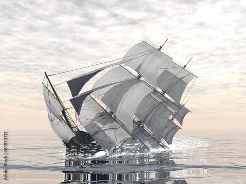 Old ship sinking - 3D render