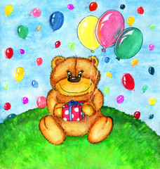 Cute Teddy bear with balloons sitting on grass