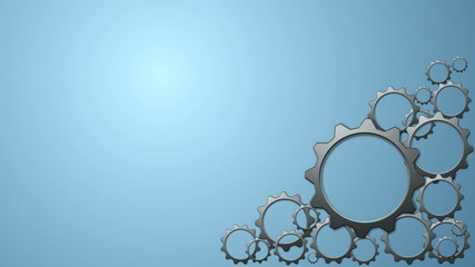 Animated 3d gears on blue background.