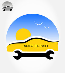 Auto repair symbol. Vector illustration.